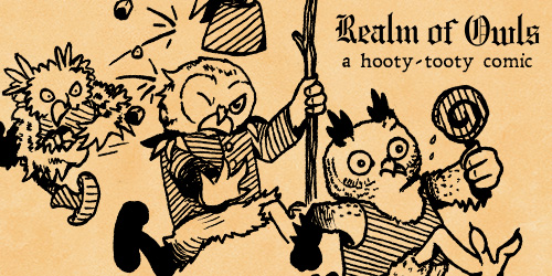 "Cartoon owl in a silly uniform, chasing a owl child that has a lollipop in hand. An angry parent owl is running and throwing rocks at the owl in uniform. Text on the image reads, ""Realm of Owls, a hooty-tooty comic"""