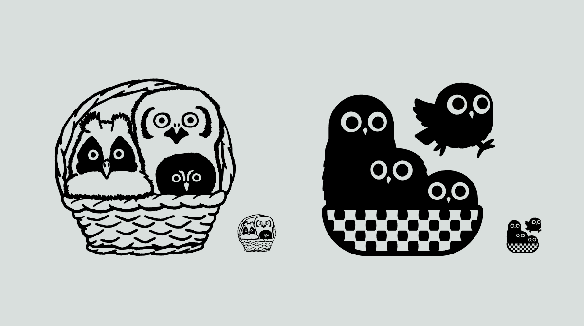 Two illustrations of owls in a basket. Left one is line art, the right one is vector shapes.