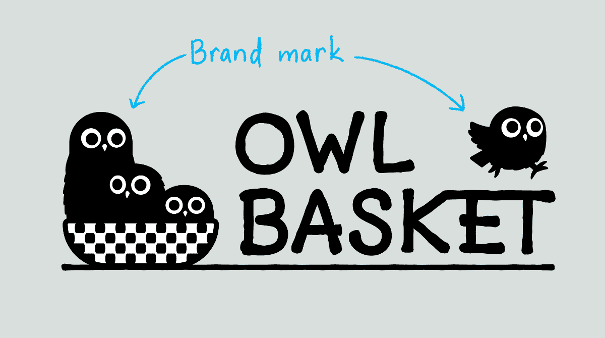 Three cartoon owls in a basket. Fouth owl running on text that reads: Owl Basket. Additional text reads: Brand mark.