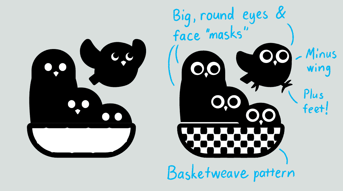 """Two vector graphics of three owls in a basket, while fourth one is jumping out. The second graphic had text which reads: Big, round eyes & face """"masks"""". Minus wing. Plus feet! Basketweave pattern."""