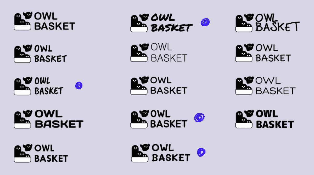2Multiple word mark designs of the same mark that reads: Owl Basket.