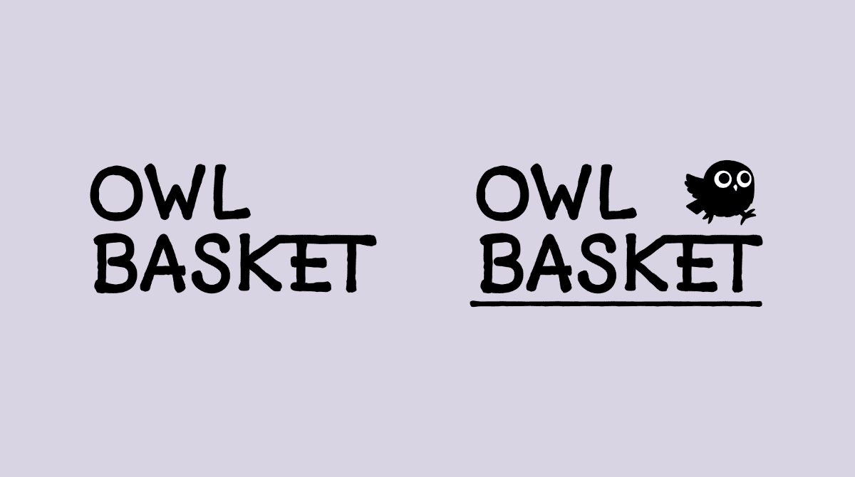 """2Two """"Owl Basket"""" word mark versions. One with words only, second one with a running cartoon owl and underline."""