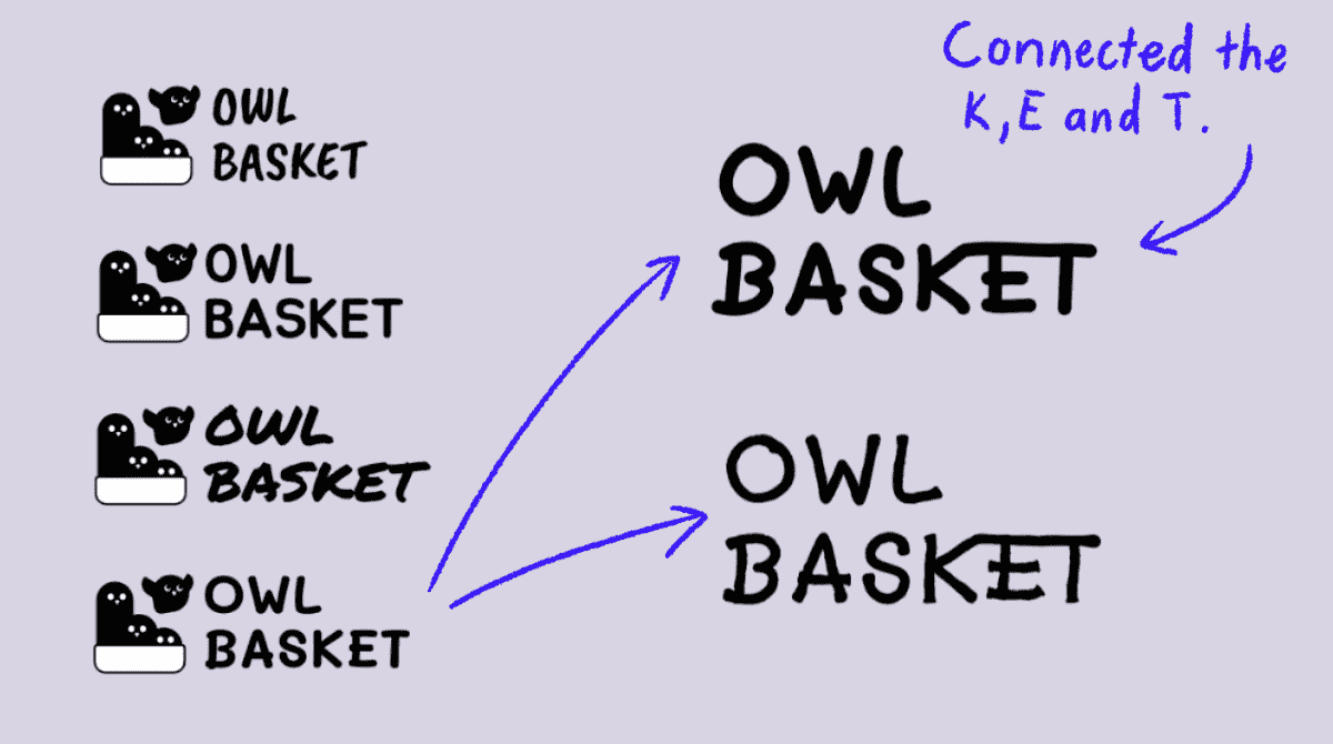 2Four word mark designs of the same logo that read: Owl Basket. Two bigger handwritten versions of the same word mark.
