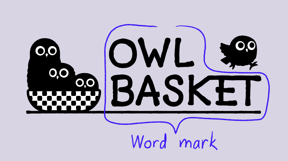 2Three cartoon owls in a basket. Fourth owl running on text that reads: Owl Basket. Additional text reads: Word mark.