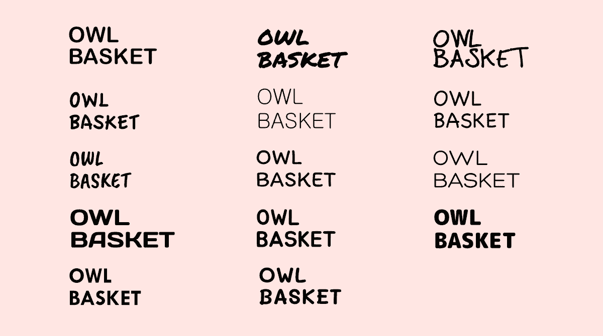 """Text """"Owl Basket"""" written 14 times in 14 different fonts."""
