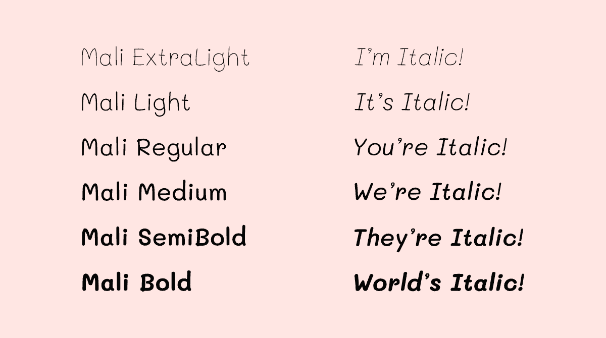 Mali font depicted in 6 font weights and 6 italic versions.